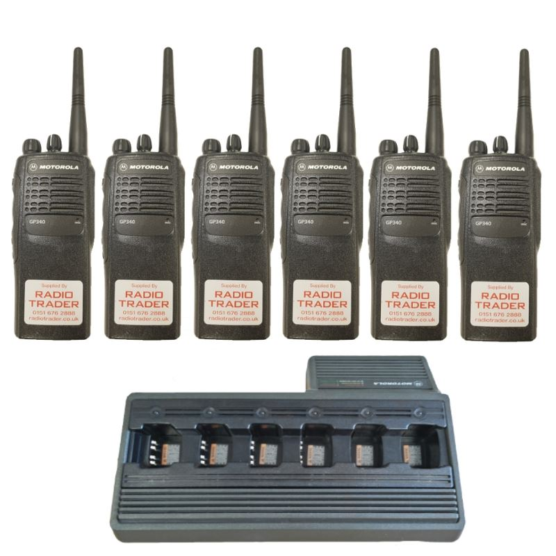 Six Motorola GP340 VHF Hand Portable Complete With Sixway Charger