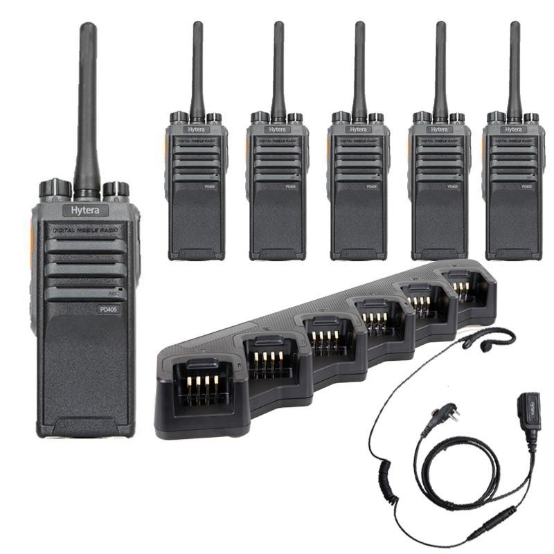 6 X Hytera PD405 Digital Hand Portable Kit Inc Earpieces and Six Unit Charger