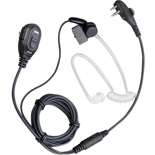 Hytera PD400 PD500 Series 2 Wire Acoustic Tube Earpiece with In-line Mic PTT